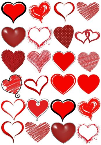 24 Mixed Red Hearts Love Large Sticky White Paper Stickers Labels NEW