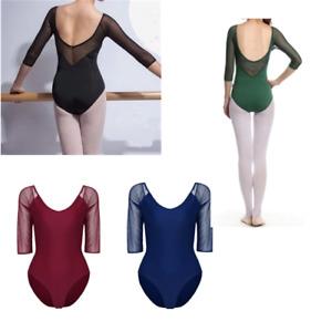Womens-Ballet-Dance-Leotard-3-4-Sleeve-Bodysuit-Gymnastics-One-piece-Dancewear