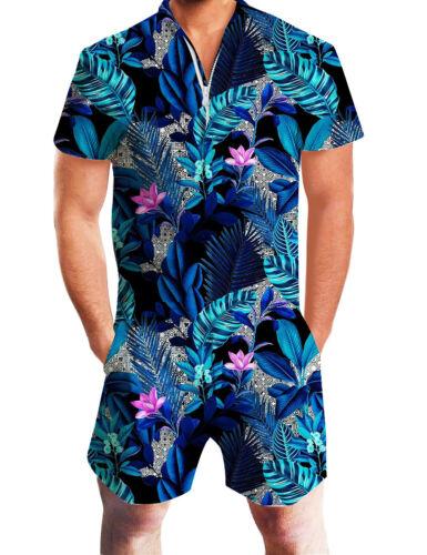 3D Print Men One Piece Jumpsuit Zip Short Sleeve Pants Rompers Overalls Playsuit