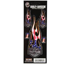 Biker Harley Davidson HD USA Flammen Emblem Aufkleber Decal Sticker 5 Stück NEU