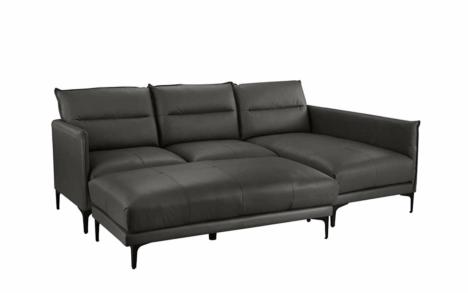 Mid Century Sectional Sofa, Leather L-Shape Couch with Rectangular Ottoman,  Grey