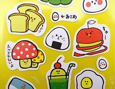 Kawaii Japanese food & drink emoticon stickers! Onigiri, takoyaki, eggs, toast