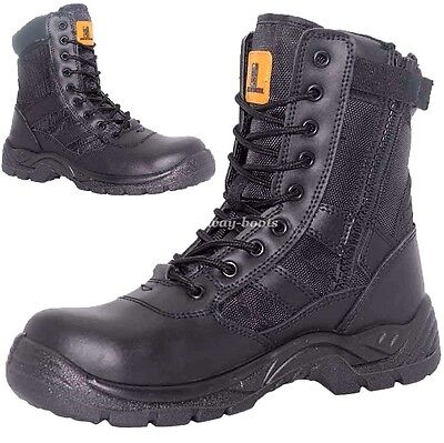 Mens Leather Lightweight Military Combat SAFETY Police Army Boots Shoes Sz 6-13