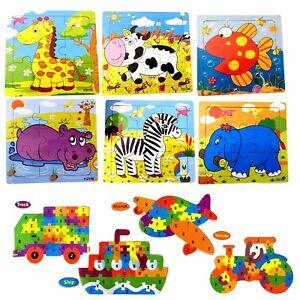 Enfants-Mini-d-039-apprentissage-en-bois-Puzzles-Jigsaw-jouet-educatif-animaux-vehicules