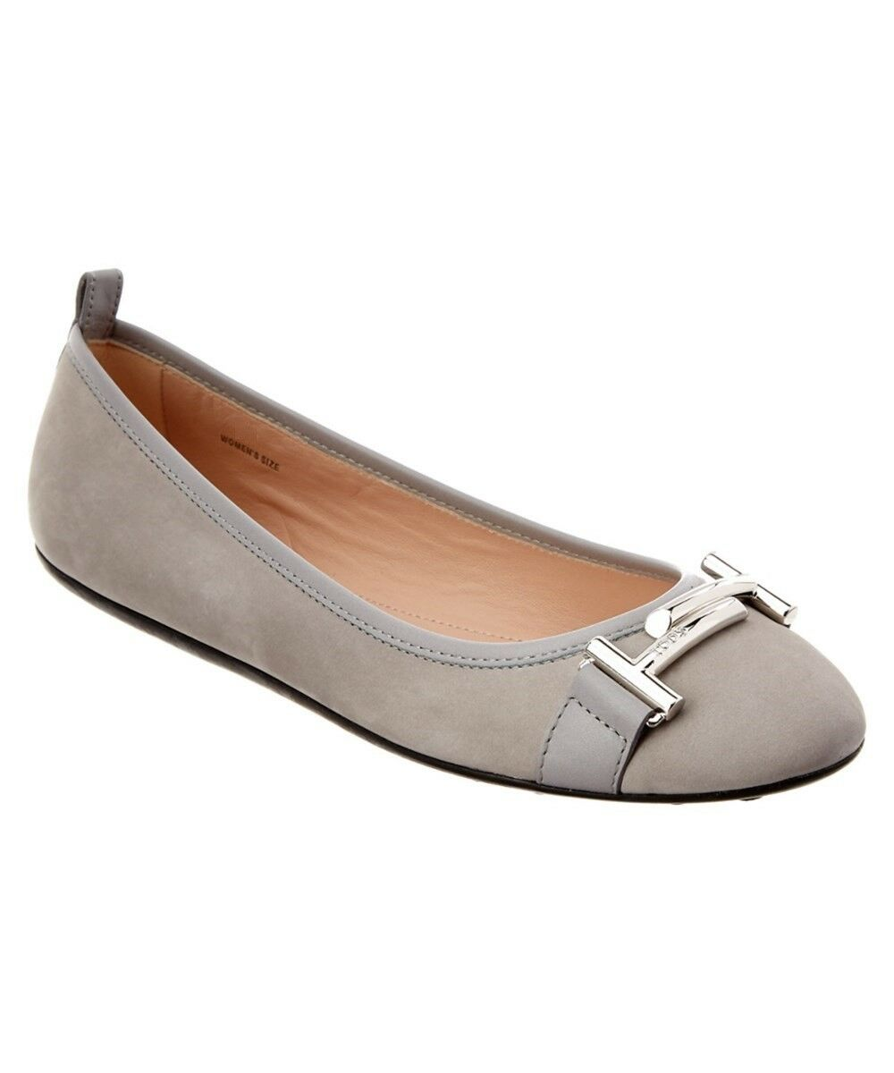 Tod's 225 T Gray Suede / Leather Double T 225 Buckle Ballerina Flats 41.5 / US 11.5 a48a82