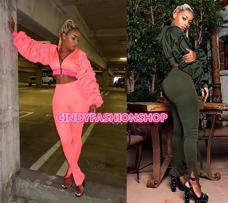 Women Two Piece Set Hooded Crop+Pants Long Ruff Sleeve Sexy Casual Jumpsuit  H