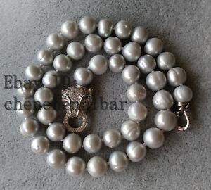 9mm-kultivierte-grau-Suesswasser-Perlenkette-17-zoll-Leopard-Verschluss