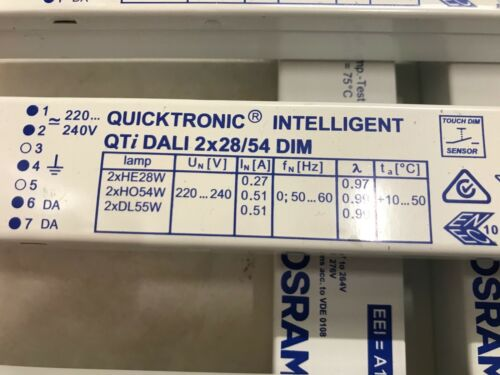 CED Dimmable Osram QUICKTRONIC Intelligent Qti Dali 2x28//54 DIM top/&neu