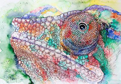 Rainbow Chameleon original reptile watercolor painting pet lizard wild american