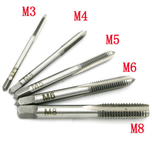 Diameter 3mm-8mm Hand Screw Thread Hole Metric Plug Straight Flute Tap Set New