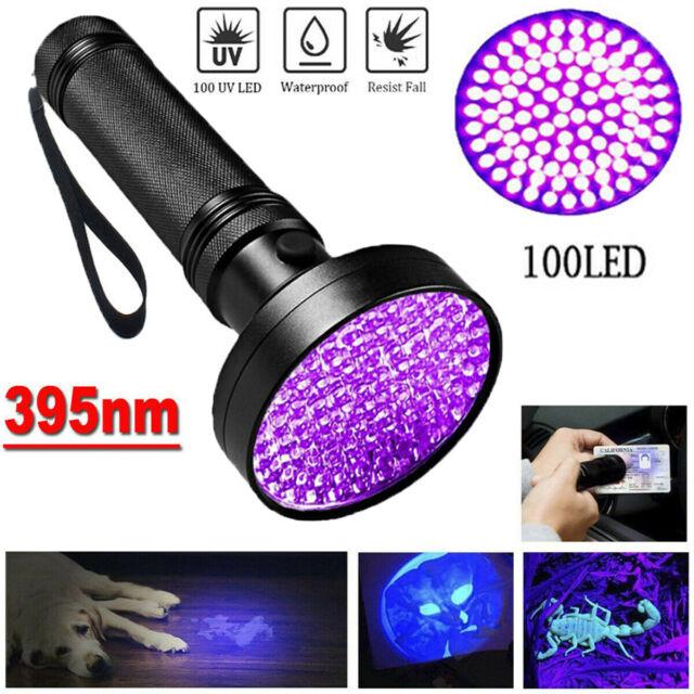 Ultra Violet 100LEDs UV Flashlight Blacklight Light 395nM Inspection Lamp Torchs