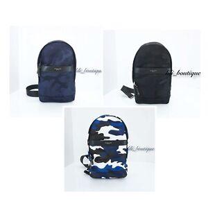 NWT-Michael-Kors-Men-039-s-Kent-Slingpack-Bag-Nylon-Leather-Camo-Black-Blue-Multi