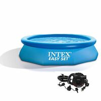 Intex 10' X 30 Easy Set Above Ground Swimming Pool With Quick-fill Ac Air Pump