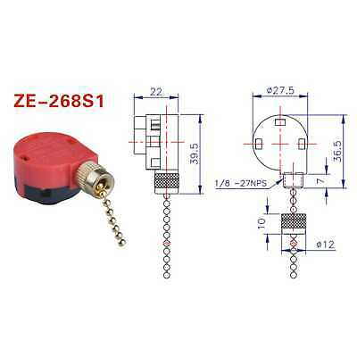 Zing Ear Ze 268s1 Switch 3speed Ceiling Fan Light Lamp Pull Chain Control On Off Ebay