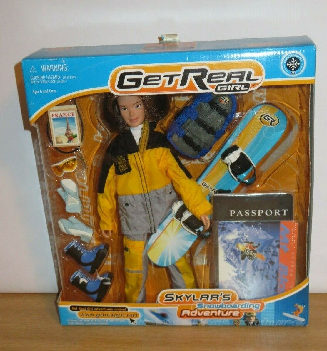 Get Real Girl Skylar's Snowboarding Adventure Action Figure Doll RARE 2001