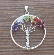 7 Chakra Tumbled Stone Chips Crystal Tree Of Life Copper Wire Wrapped Pendant