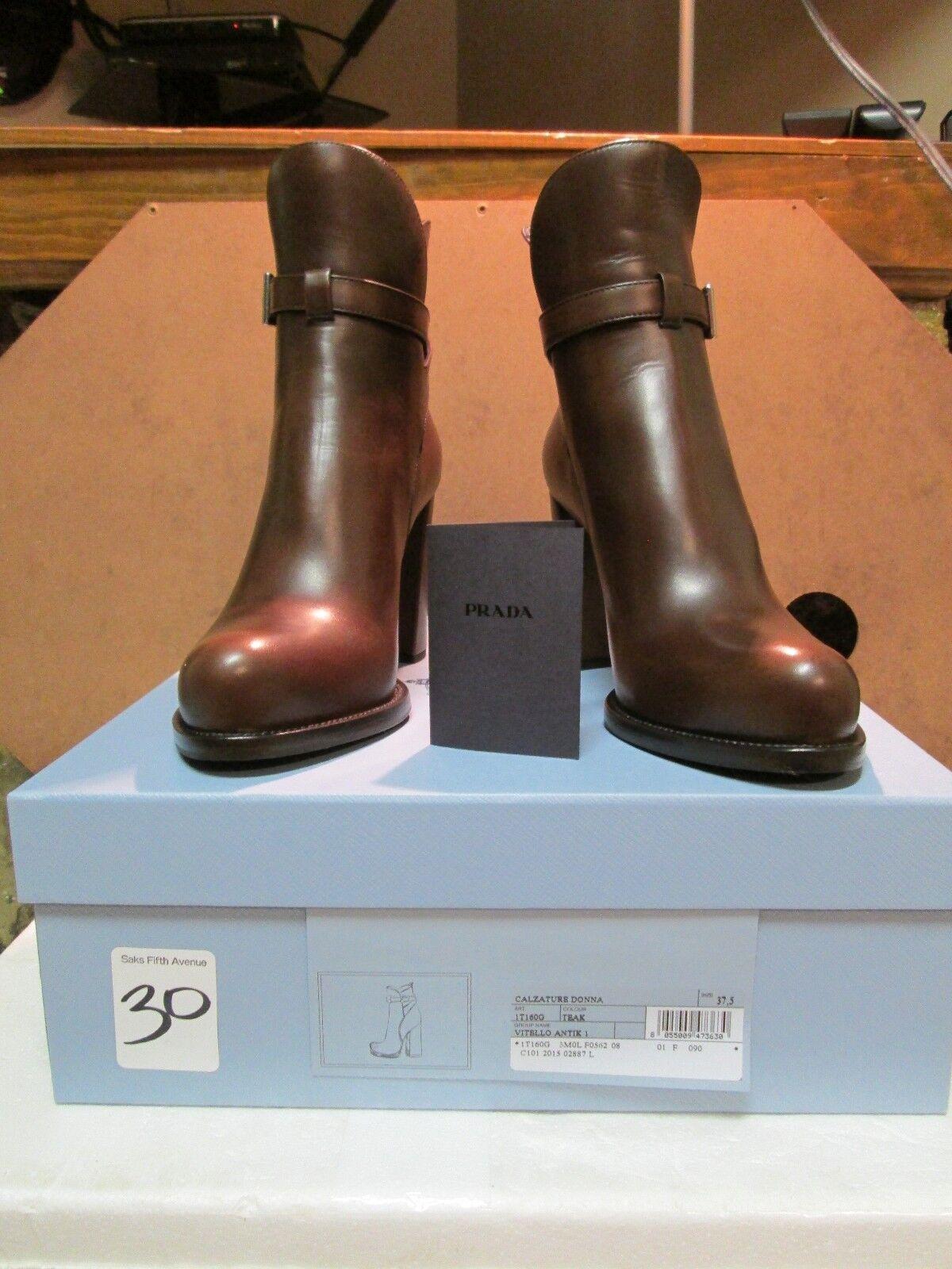 Prada Teak Brown Leather Heeled Booties Size 37.5 NIB  1100