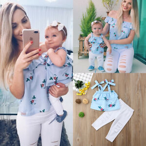 baad238d5b0 Image is loading USA-Floral-Mother-and-Daughter-Matching-Outfits-Striped-