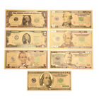 1Set 7 Pcs Gold Plated US dollar Paper Money Banknotes Crafts For Collection E/&F