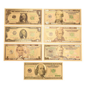 1-Set-7-Pcs-Gold-Plated-US-dollar-Paper-Money-Banknotes-Crafts-For-Collect-RDR