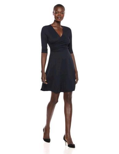 Navy Lark /& Ro Women/'s Three Quarter Sleeve Faux Wrap Fit and Size Medium