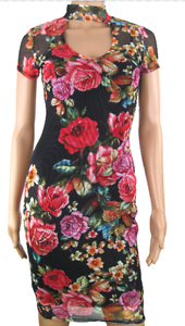 Details About Jane Norman Mesh Lace Floral Print Bodycon Choker High Neck Mini Midi Dress 8