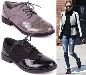 f0abfeba1d LADIES FLAT BLACK OXFORD BROGUE LACE-UP PUMPS WOMENS OFFICE WORK ...