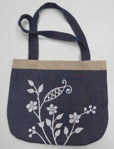 TARANGO Stofftasche Handtasche Tasche Bag Damenhandtasche Damentsche blau weiß