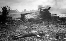 WWII Photo Dead Japanese Soldier Saipan  WW2 B&W World War Two USMC  / 2264