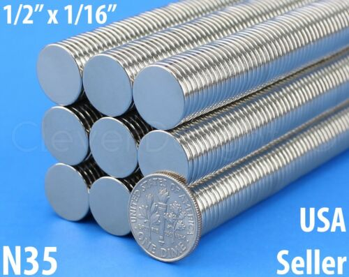 """N35 Disc Magnet 1//2/"""" x 1//16/"""" Neodymium Magnets Crafts Strong 13mm x 1.5mm"""