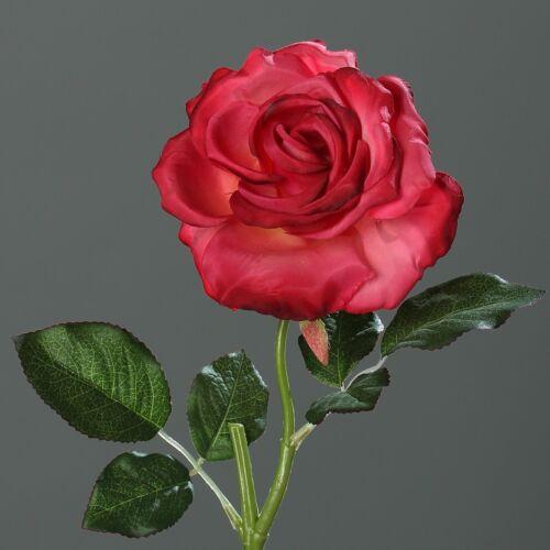 Rose Bauernrose Seidenblume Kunstblume rot 40 cm 42676-17 F6