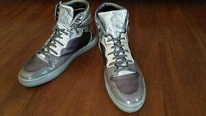 BALENCIAGA-Metallic-Silver-Gunmetal-Grey-Hi-Top-Sneakers-US-12-EU-45-SOLD-OUT