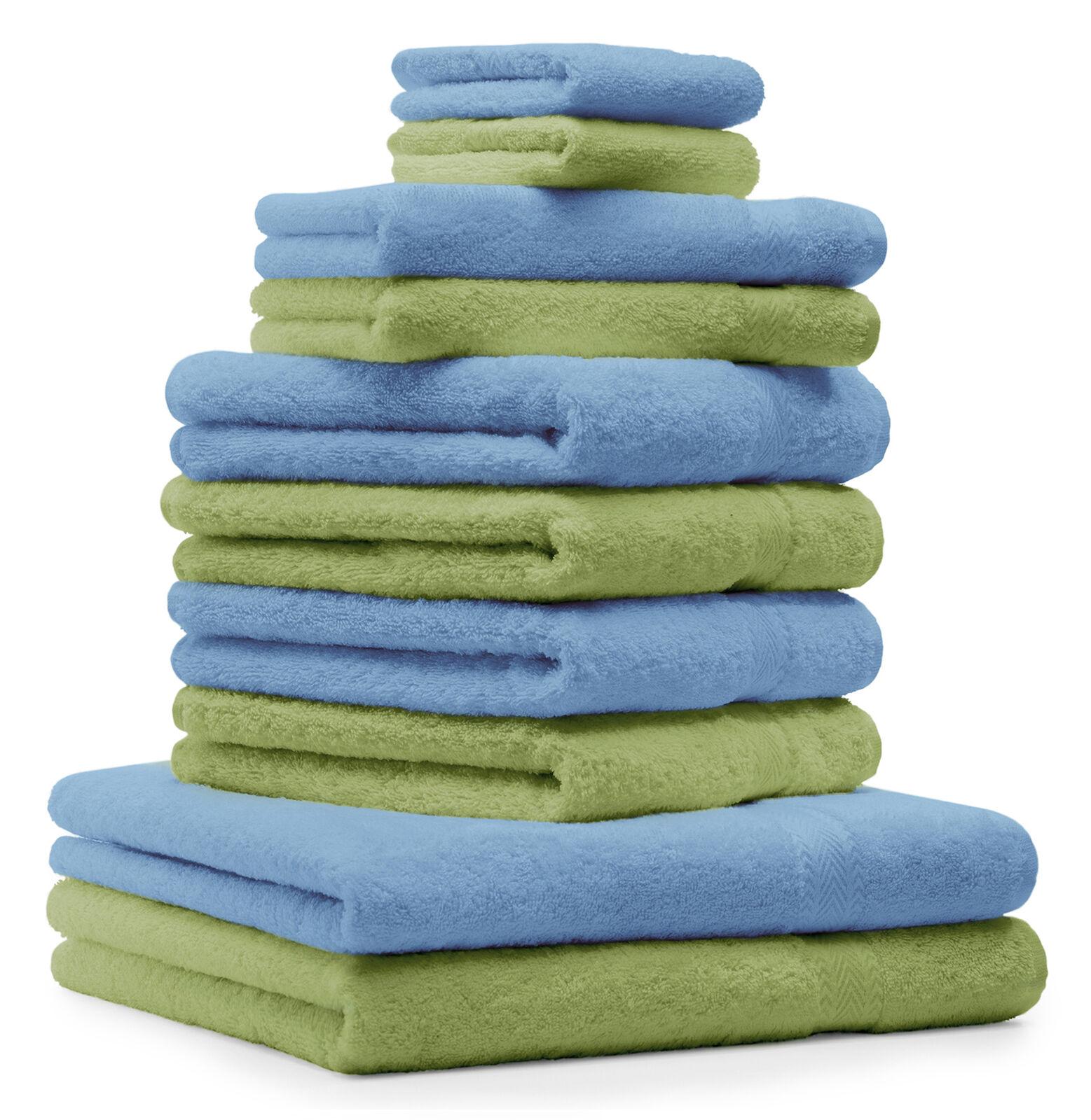 Betz 10-tlg. Handtuch Set Classic Classic Classic Farbe Apfel-Grün & Hellblau     | Viele Sorten  814d16
