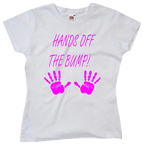 d7d9e3c23e20f Hands Off The Bump! Ladies Funny Pregnancy T Shirt Maternity Gifts ...