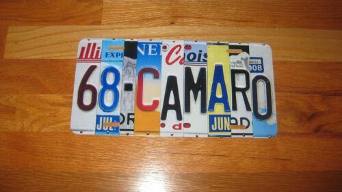 68 Camaro-Image Of Chevy License Plate Art on Custom Tag-Mancave Custom Car Tag