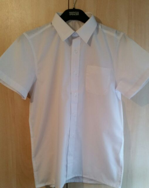 41b9f71d8 NEW BOYS SCHOOL UNIFORM WHITE COLLAR SHIRT MATALAN SHORT SLEEVE 13 YARS