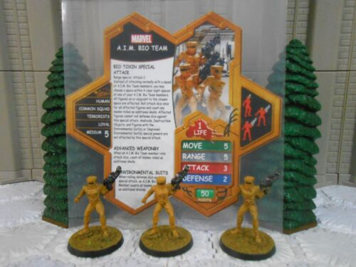 Heroscape Custom A.I.M. Bio Team Double Sided Card & Figures AIM Marvel