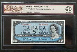 1954-Bank-of-Canada-5-Rare-2-Digit-Serial-Z-S-0303303-BCS-UNC-60-BC-39b