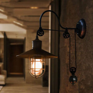 super popular 91f04 dd134 Details about Industrial Barn Gooseneck Indoor Wall Sconce Lamp Fixture  Pulley Wall Light