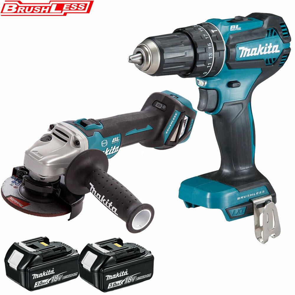 Makita 18V DGA463 Angle Grinder + DHP485 Combi Drill + 2 x 3Ah BL1830 Batteries