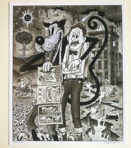 WOLF-And-The-APOCALYPE-12x15-034-signed-print-By-Frank-Forte-Pop-Surrealism-Horror