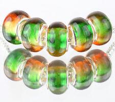 5pcs SILVER MURANO LAMPWORK Beads Fit European Charm Bracelet DIY #D510