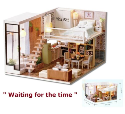 Doll House Wooden Miniature DollHouse furniture DIY Kit LED /& Music Box Gift Toy