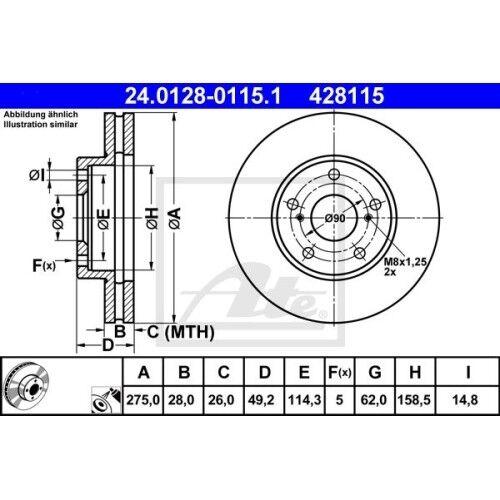 CLM2 ACM2 SATZ 2x ATE Bremsscheibe LEXUS ES MCV VZV TOYOTA AVENSIS VERSO