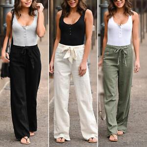 Mujer Pantalones Playa Pantalones Moda Con Cordones Pantalones Haren Elastico Ebay