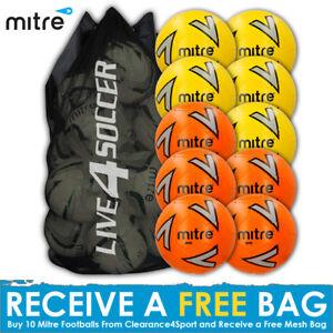 Mitre-Impel-10-mix-Yellow-Orange-Footballs-Plus-FREE-Mesh-Bag-New-2018-Design