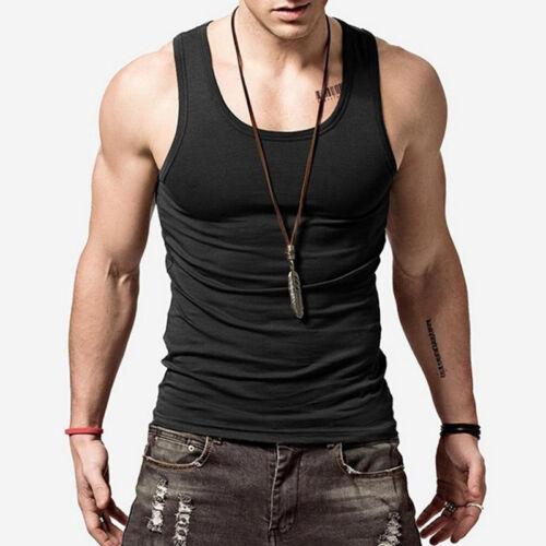 Men Summer Sleeveless  Slim Fit Vest Tank Top T-Shirt Casual Cotton Gym Sports