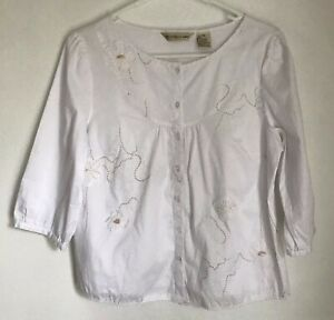 Ecologie-Petite-Womens-PM-Shirt-White-Embroidered-Button-Front-Blouse-3-4-Sleeve