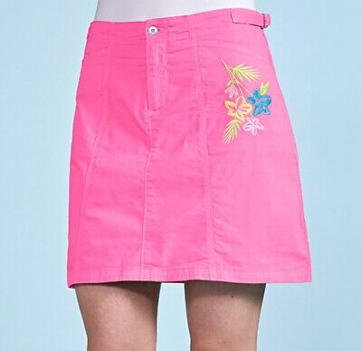 FRESH PRODUCE Medium Flamingo Pink TIDEPOOL GEO CITY Stretch Skort NWT New M