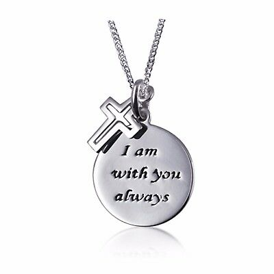 """NEW Solid 925 Sterling Silver """"I am with you always"""" Pendant With Cross + Chain"""